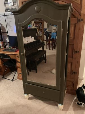 Mirrored Armoire Hutch Wood Shelf for Sale in Fresno, CA