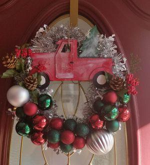 Red truck Christmas door wreath for Sale in Utica, MI