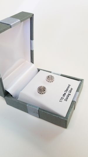 Diamond and sterling silver earrings for Sale in Burleson, TX
