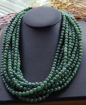 1 PCS Certified GREEN Burma 100% A JADE Jadeite beads Necklace 20 inches 101187 for Sale in El Monte, CA