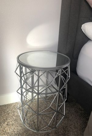 Beautiful silver with mirror side table for Sale in Vancouver, WA
