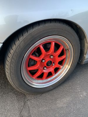"15"" Red Rota GT3 with almost new toyo tires for Sale in Fairfield, CA"