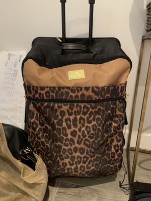 Leopard print travel 4 wheel rolling suitcase bag compartments with protecter travel cover for Sale in Solana Beach, CA