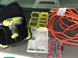 Ryobi Power Drill, Screwdriver Bits, Hand Screwdriver w/ Bits and Extension Cord for Sale in St. Cloud, MN