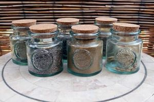 Set of 6 Couronne Spice Storage Jars w/ Cork Authentic Glass 100 recycled for Sale in Los Angeles, CA