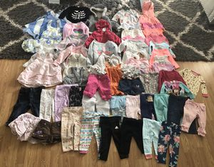 55 pieces at 9-12 and 12 months baby girl clothes for Sale in Colorado Springs, CO