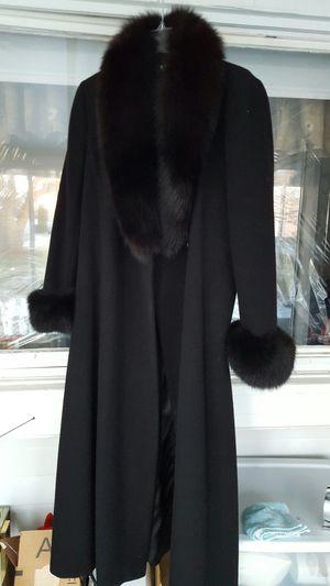 Black fox trimmed coat size 8 for Sale in Salem, MA