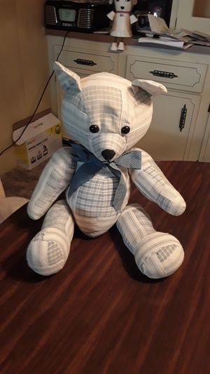 Teddy bear with stripes and plad color is like a blue gray for Sale in Fort Myers, FL