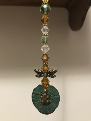 Handmade Ornaments Beads Glass Drop Crystals Metal Car Charms Suncatchers Gold Bronze Frog Butterfly Home Decor Accessories for Sale in Hanover, PA