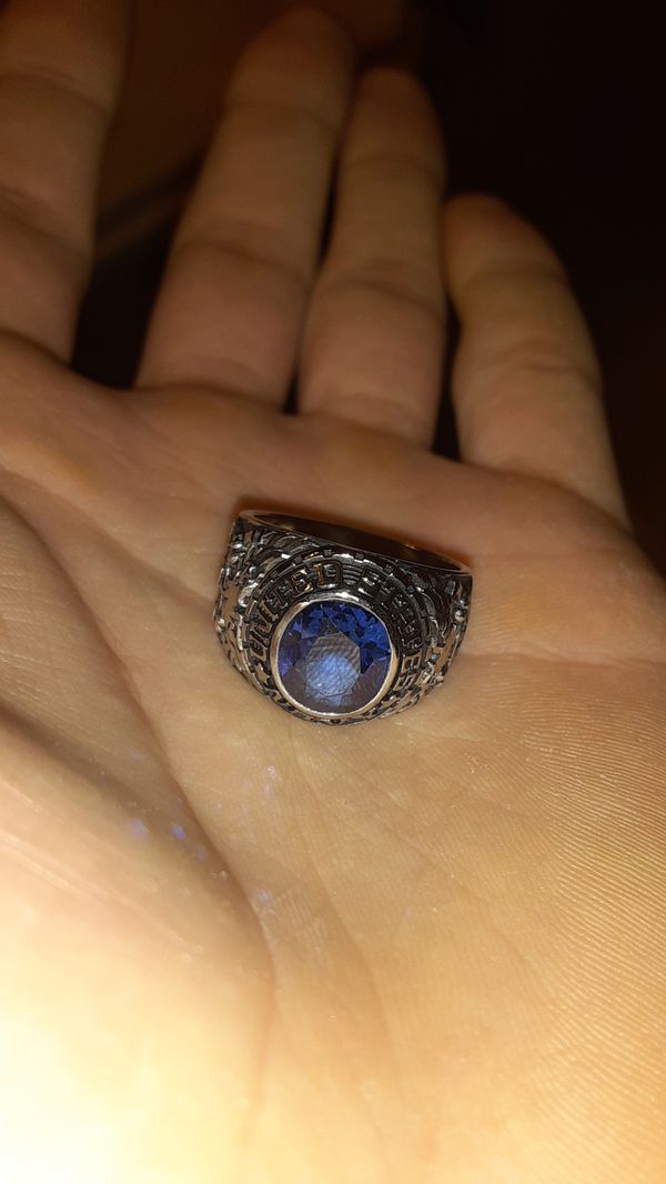 Jostens Steel Ring w/ Blue Spinel Gemstone