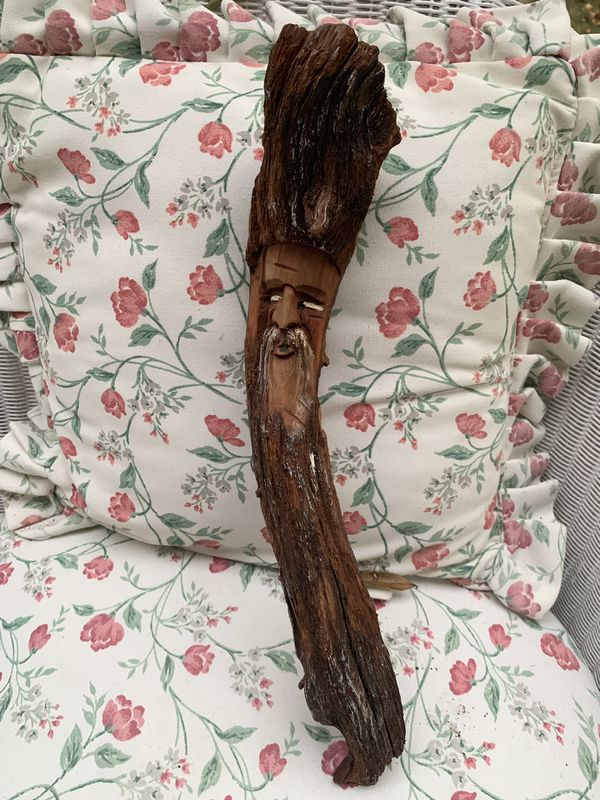 AWESOME VINTAGE ORIGINAL WOOD TREE SPIRIT WIZARD FACE CARVED DRIFTWOOD SCULPTURE