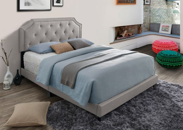 Brand New Queen Size Light Brown Upholstered Bed Frame ONLY
