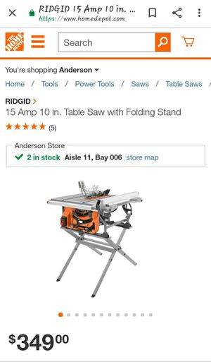 Ridgid 10-inch table saw with stand for Sale in Greenville, SC