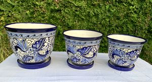 TALAVERA FLOWER POTS SET OF 3 WITH SAUCERS for Sale in Austin, TX