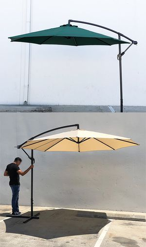 New $60 each Round 10' Offset Patio Umbrella Outdoor Off Set Crank Lift w/ Cross Stand (3 Colors) for Sale in South El Monte, CA