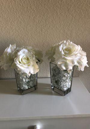 White Fake Flowers & Vase Home Decor for Sale in Spring, TX