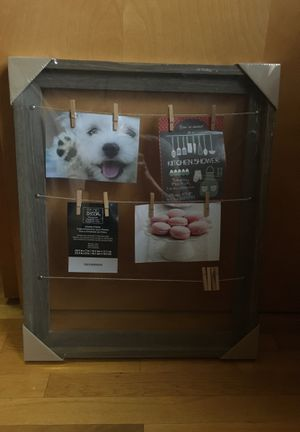 Hanging picture frame with clothespines for Sale in Newton, MA