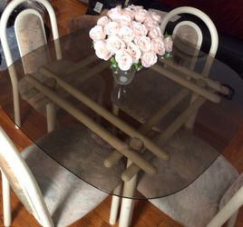 Solid Dining Glass Table, Metal Frame w/ 4 Chairs for Sale in Queens,  NY