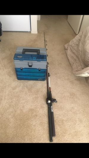 Shakespeare Supreme Fishing Pole & Rod and Very Heavy Fishing Box Full Of Fishing Supplies & Equipments. OR BEST OFFER.! for Sale in Fresno, CA