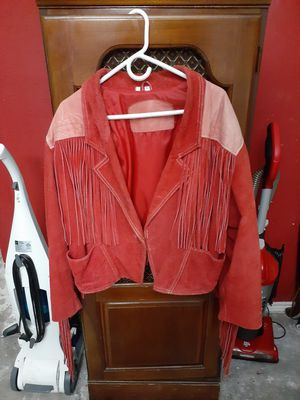Red Leather Fringe Jacket for Sale in Houston, TX