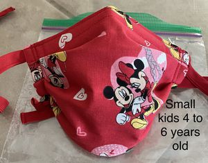 Handmade Mickey & Minnie Mouse Small kids face mask fits 4 to 6 years old with Adjustable ear straps and nose wire for Sale in Fontana, CA