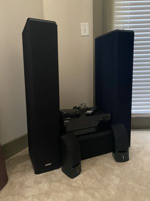 Sony Home Theatre System with Channel Changer, Energy Home Theatre Speakers, and Bose Surround Sound Wall Speakers (wires, wall mount and screws incl for Sale in Atlanta, GA