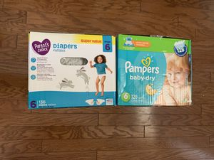 Baby diapers size 6 pampers 128 and parent choice 136 for Sale in Richardson, TX