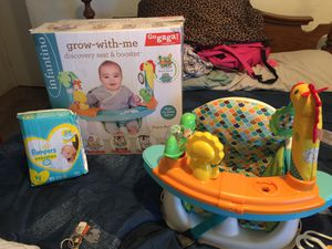 Grow with me seat and booster and newborn diapers for Sale in Garland, TX
