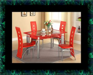 Glass red dining table with leather chairs for Sale in Mount Rainier, MD