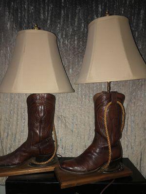 Cowboy boot lamps pair for Sale in Sebastian, FL