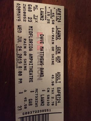 Dave Matthews ticket for Sale in Land O Lakes, FL