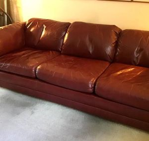 REAL red leather couch need gone ASAP for Sale in Santa Clara, CA