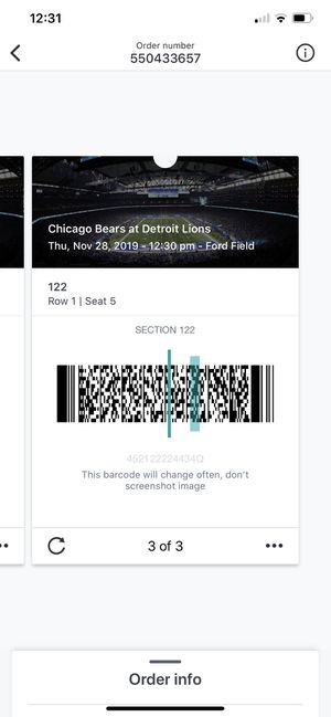 Thanksgiving day lions tickets for Sale in Northville, MI