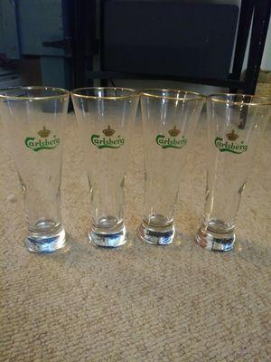 Carlsberg gold rim pilsner beer glasses for Sale in Manassas Park, VA