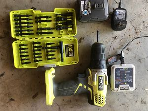 Ryobi Drill with Battery, Charger, and Bit Set for Sale in Carmel, ME