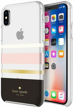 Kate Spade NY Hard Shell Case for iPhone X & XS (Gold Foil/Charlotte Stripe) NEW for Sale in Rancho Cucamonga, CA