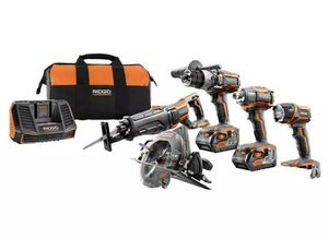 RIDGID 18-Volt Lithium-Ion Cordless 5-Tool Combo Kit w/ Battery, Charger & Bag for Sale in St. Petersburg, FL