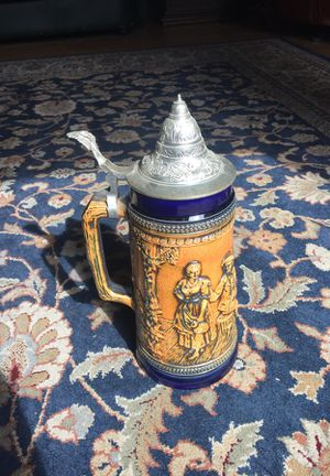 "Vintage Gerz West Germany 11"" Drinking Scene Cobalt Blue Stein for Sale in Leavenworth, WA"