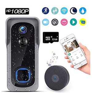Doorbell Camera Wi-Fi with Motion Detector,1080P Full HD Video Doorbell with Chime, IP65 Waterproof and Weatherproof, Real-Time Two-Way Audio with No for Sale in Upland, CA