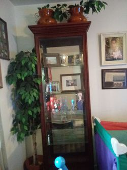 Beautiful curio cabnet 4 shelves side doors for Sale in Port Byron,  IL
