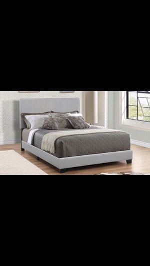 Queen bed frame grey color mattress and box spring included 260$ delivery available for Sale in Chicago, IL