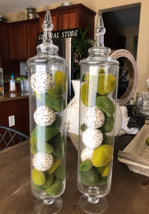Set of 2 glass jars no deliveries price firm for Sale in Reedley, CA