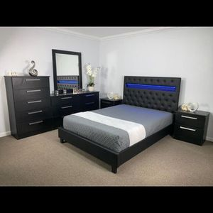 Brand new king leather light six piece bedroom set the mattress for Sale in Pompano Beach, FL