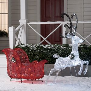 Christmas reindeer and sleigh outdoor light decoration. For yard, garden, porch, lawn for Sale in Los Angeles, CA