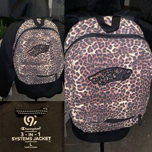 Black water resistant zip jacket and vans leopard print jacket for Sale in Caldwell, ID