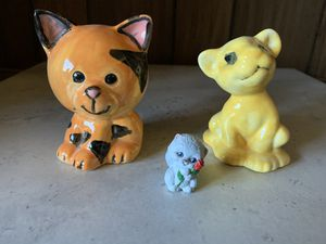 3 Mini Handmade & Painted Clay Pottery Ceramic Kitty Cat Tiger Figures Figurines for Sale in Sacramento, CA