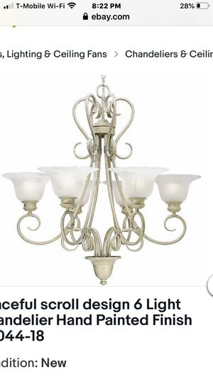 Beautiful big : Graceful scroll design 6 Light Chandelier Hand Painted Finish P4044-18 brand new regular price it's $399 plus tax total $429.00 and I for Sale in Alta Loma, CA