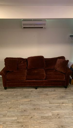 Red velvet couch with pillows for Sale in Washington, DC