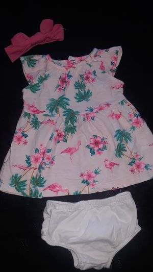 🌺🌴CARTERS 3 MONTHS FLAMINGO PALM TREE 3 PIECE DRESS🌴🌺 for Sale in Modesto, CA