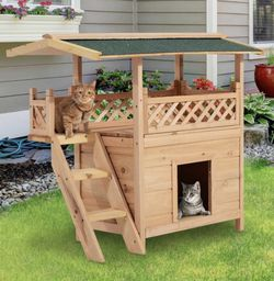 Wooden Pet House Cat Room Dog Puppy Large Kennel Indoor Outdoor Shelter w/ Roof for Sale in Austin,  TX